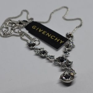 """Givenchy Jewelry - Givenchy Silver-Tone Crystal Lariat Necklace 16""""+3"""